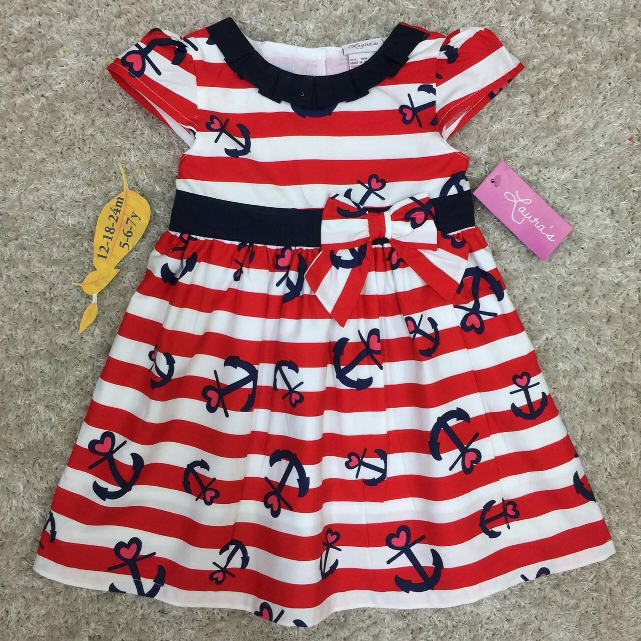 เสื้อผ้าเด็ก 5-7ปี size 5Y-6Y-7Y ลายสมอ สีแดง