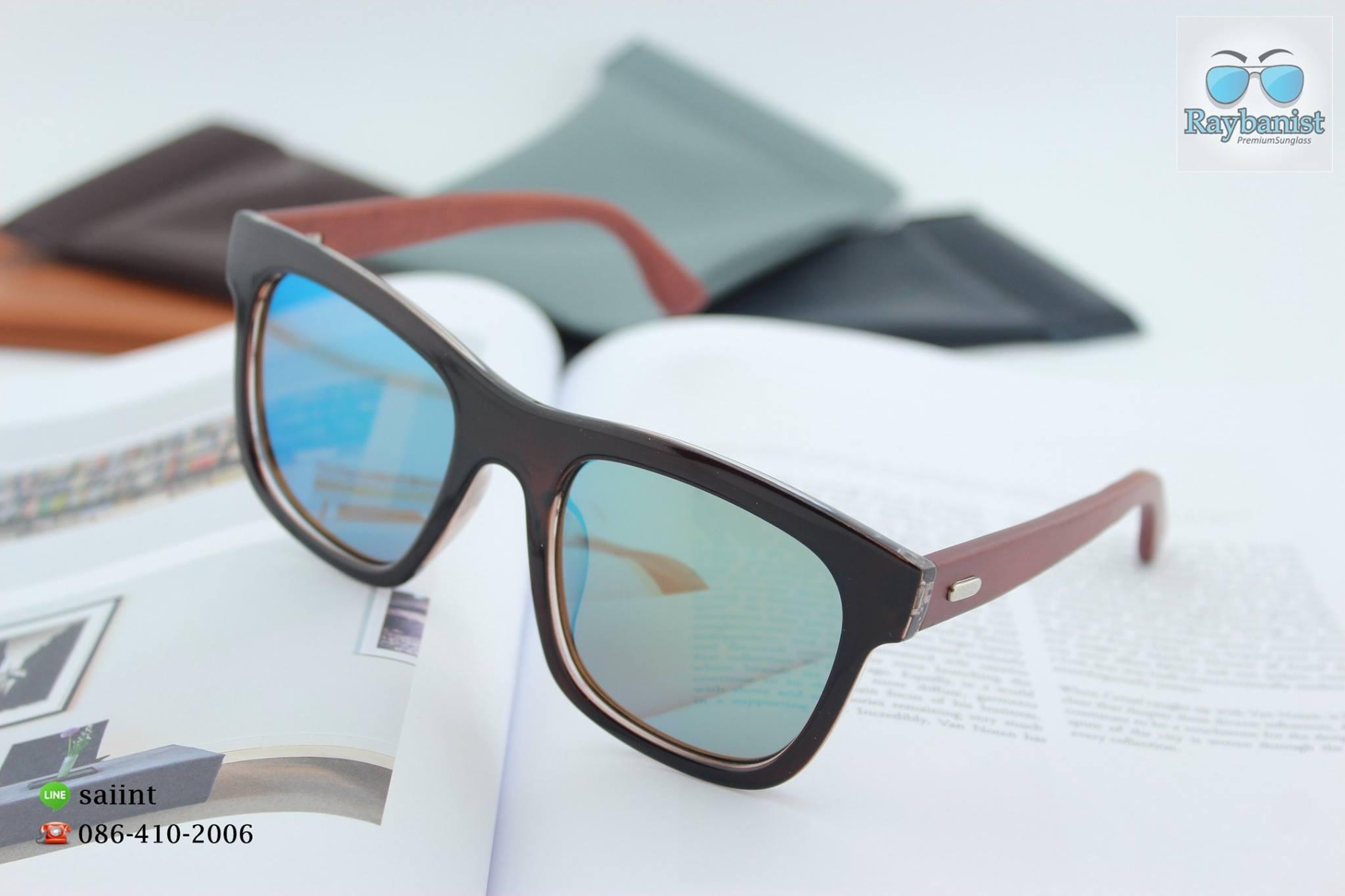 แว่นตากันแดด ขาไม้สีน้ำตาล เลนส์ปรอท