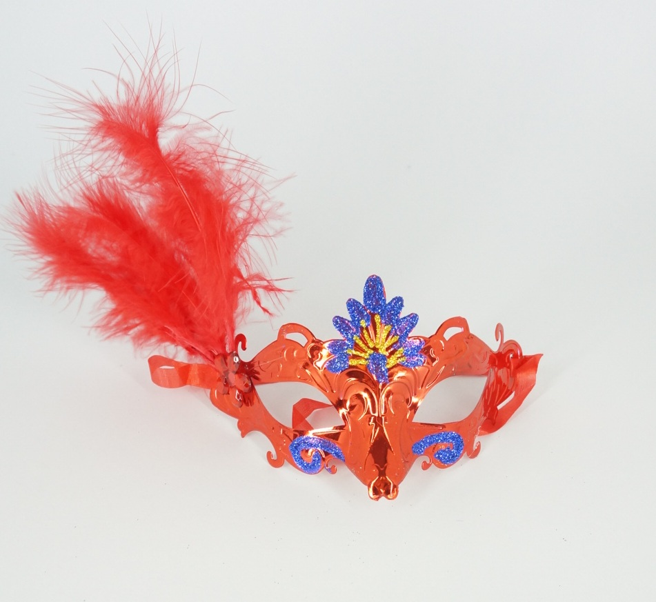 หน้ากากแฟนซีขนนก แดง