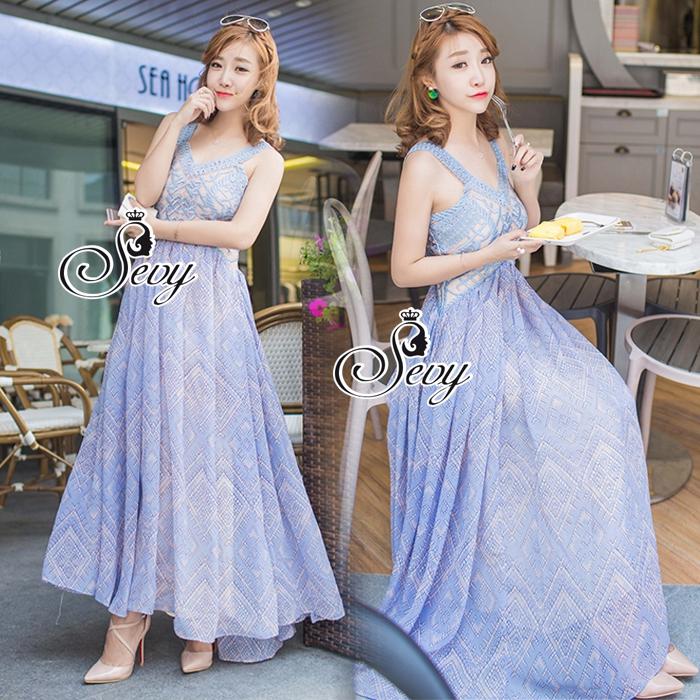 Alice Hollow lace Sleeveless Maxi Dress