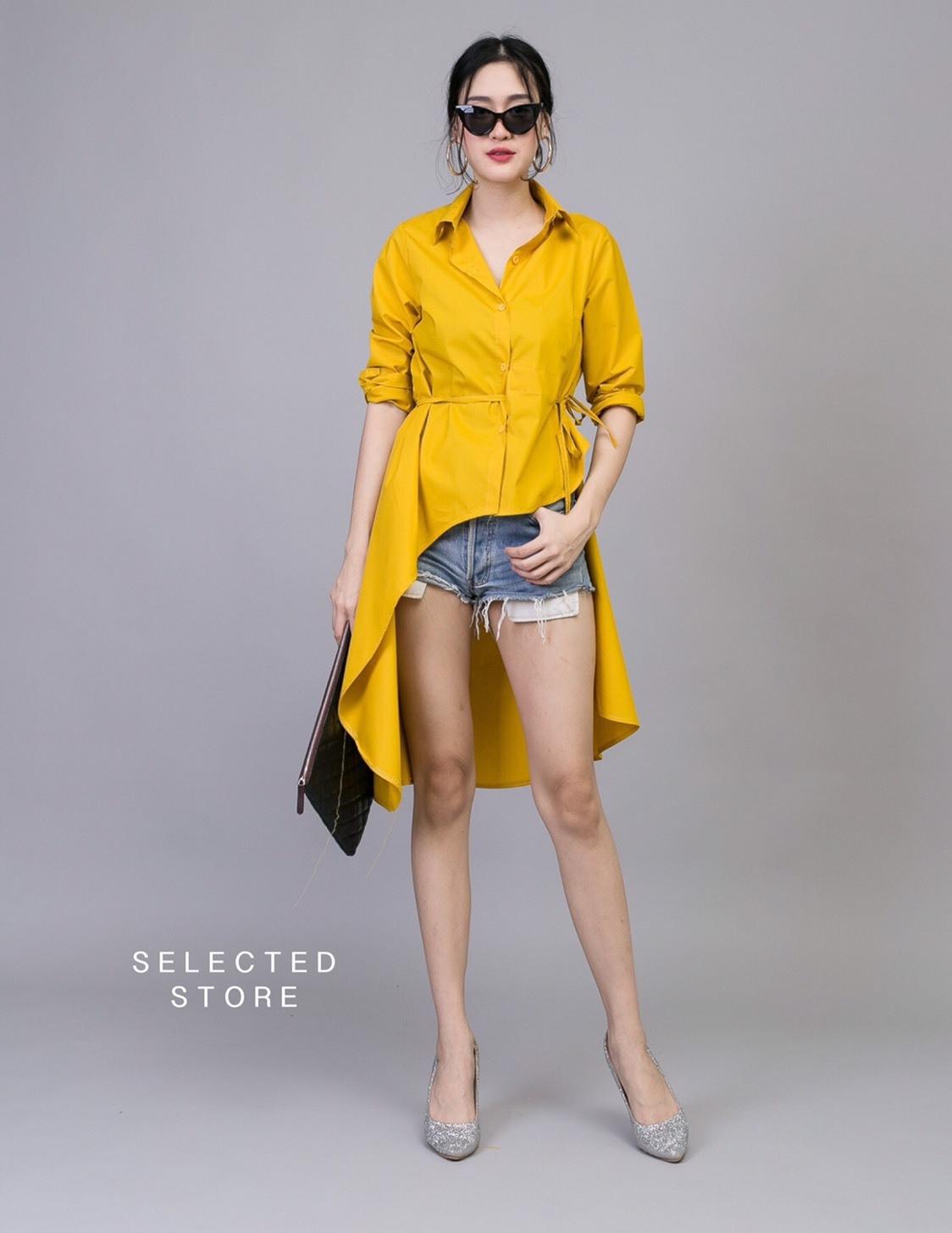 เสื้อผ้าเกาหลีพร้อมส่ง เสื้อเชิ้ตหน้าสั้นหลังยาว มีเชือกผูกเอวด้านข้าง