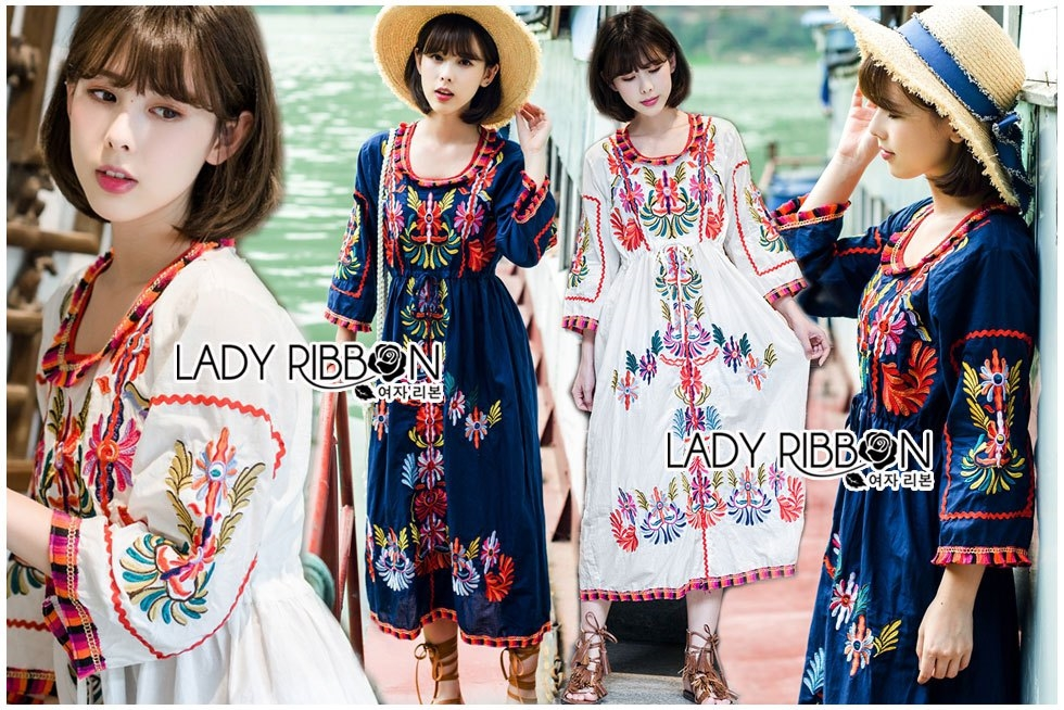 Ariana Bohemian Colorful Embroidered Cotton Dress