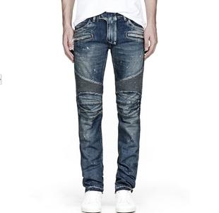 กางเกงBalmain Biker Blue Stretch Jean
