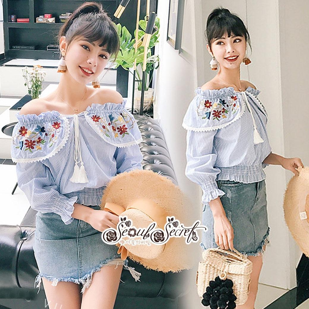 Erin Off Shoulder Flower embroidery Blue&Brown Stripe Elastic waist