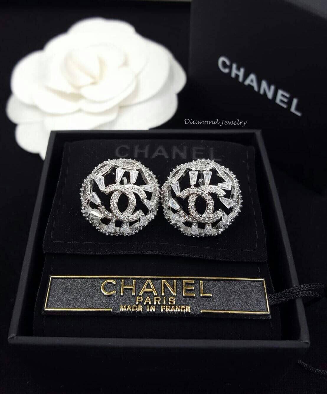พร้อมส่ง Chanel Earring ต่างหูชาแนลงานเพชร CZ แท้ เพชรเกรด 6A