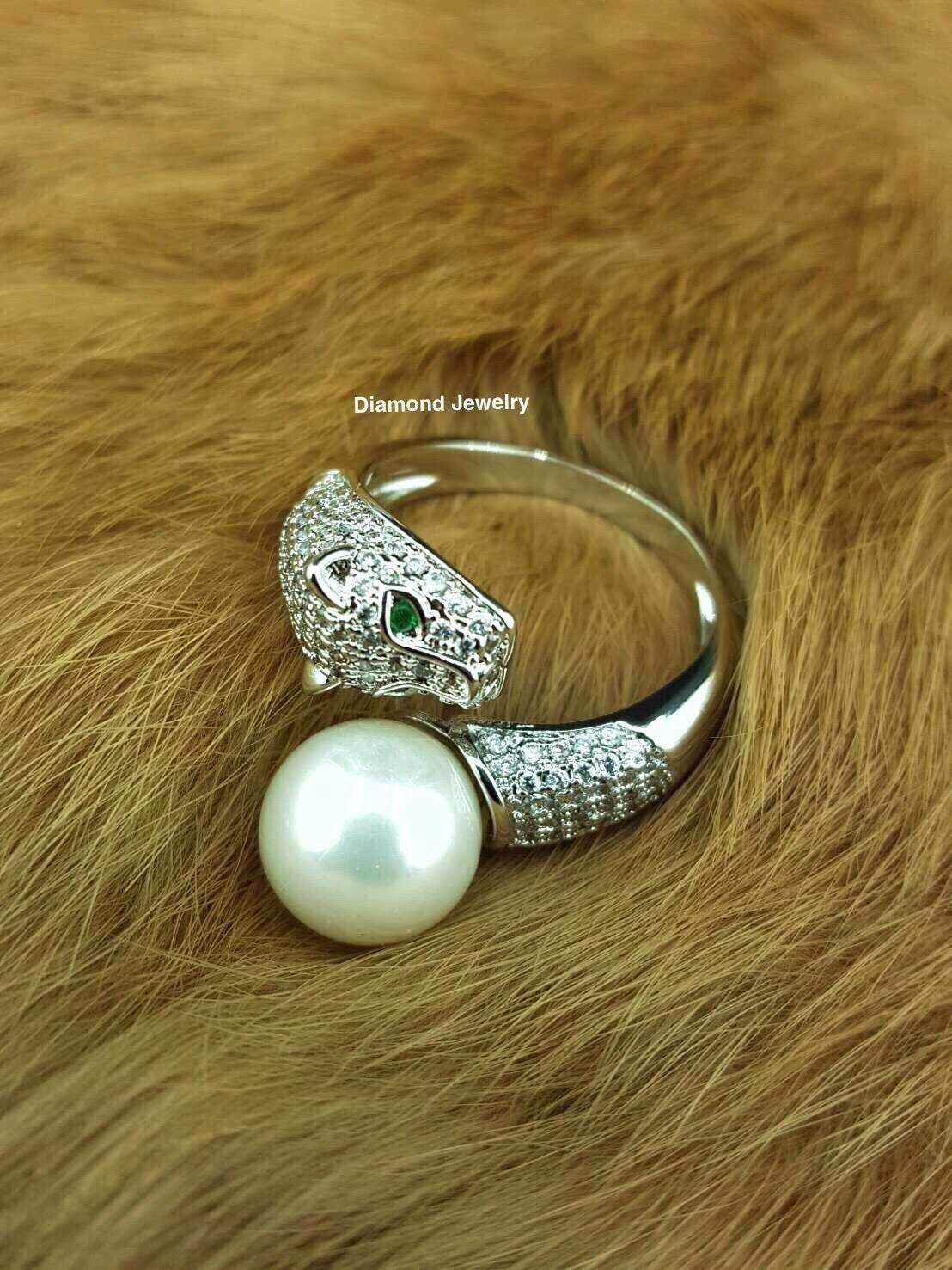 พร้อมส่งแหวนคาเทียร์หัวเสือประดับมุกงานสวยมากๆค