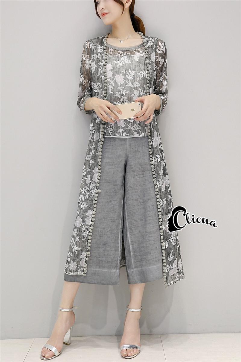 เสื้อผ้าเกาหลี พร้อมส่งMacy Grey - Set เสื้อ+กางเกง+เสื้อคลุม