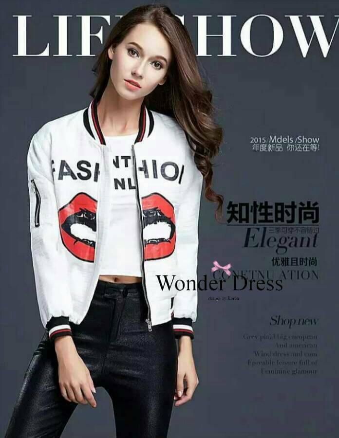 เสื้อผ้าเกาหลี พร้อมส่งเสื้อแจ๊คเก๊ตลายใหม่ล่าสุดจากแบรนด์ ANNA KIKI