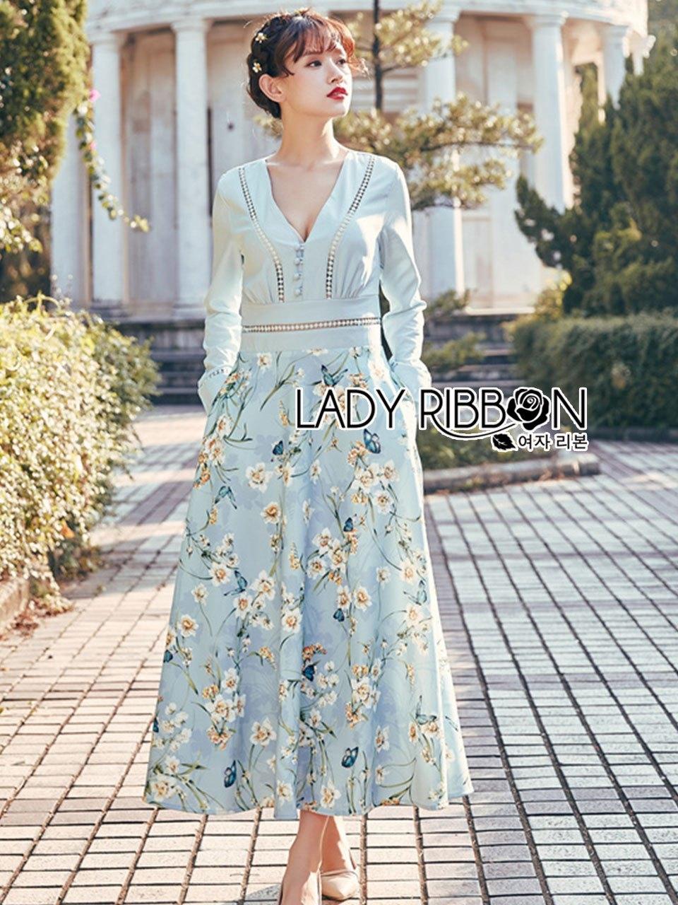 Eva Flower Blossom Printed Baby Blue Maxi Dress
