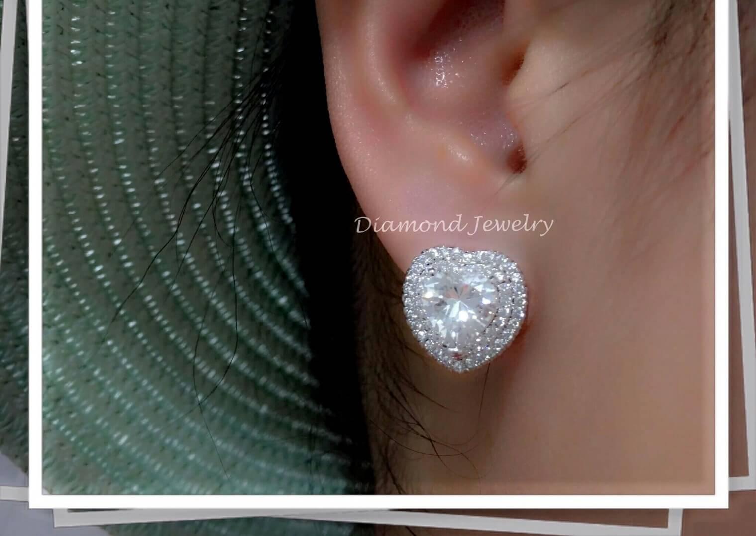 พร้อมส่ง Diamond Earring ต่างหูเพชร CZ แท้ งานล้อมเพชร