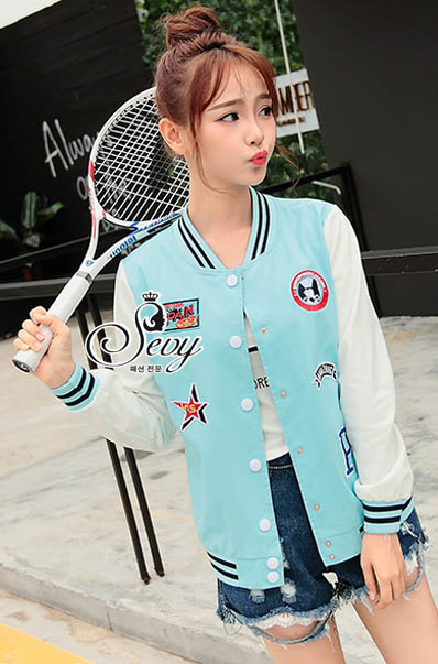 เสื้อผ้าเกาหลี พร้อมส่งเสื้อแจ็คเก็ตเบสบอลแขนยาวสไตล์เกาหลี