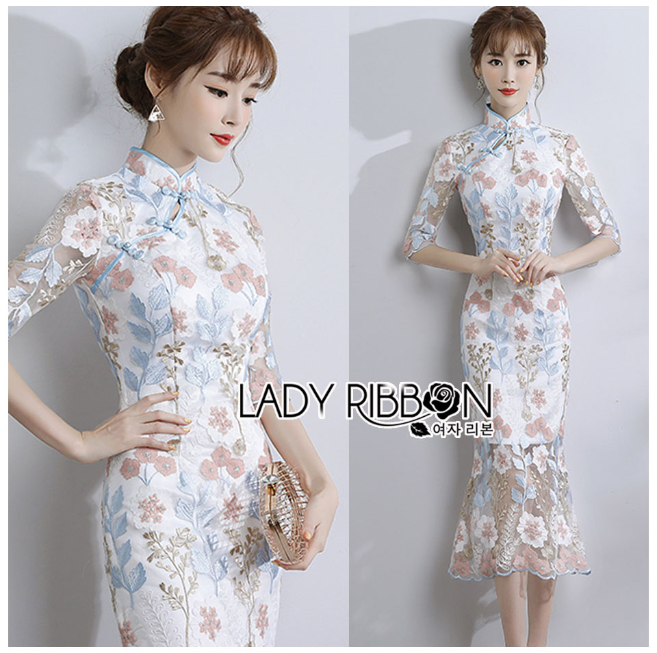 Hanna Chinese Style Pastel Lace Dress