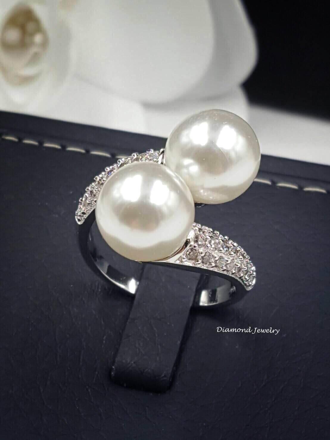 พร้อมส่ง Pearl Diamond Ring งานเพชร CZ แท้ เพชรเกรด 6A
