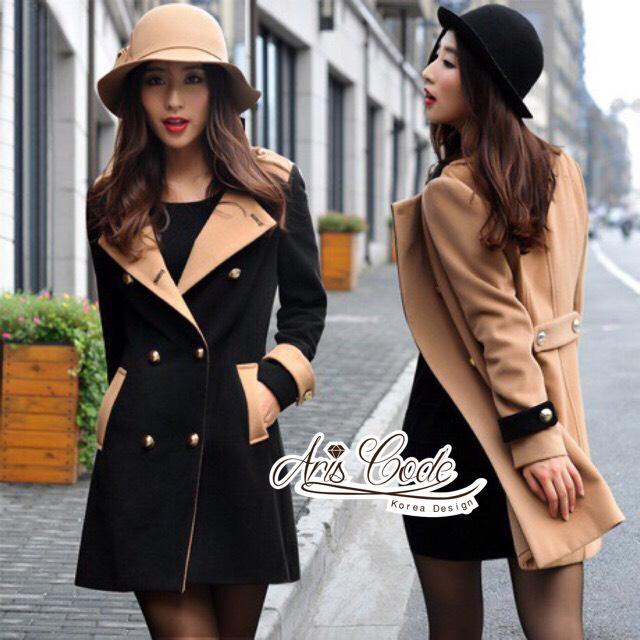 Korean woolen coat collar double-breasted wool coat