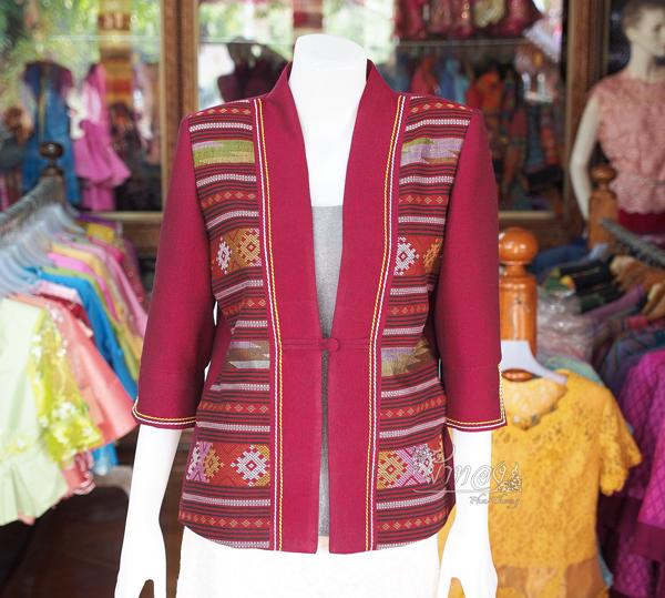 เสื้อคลุมผ้าฝ้ายสุโขทัย แต่งผ้าทอลายน้ำไหล ไซส์ XL