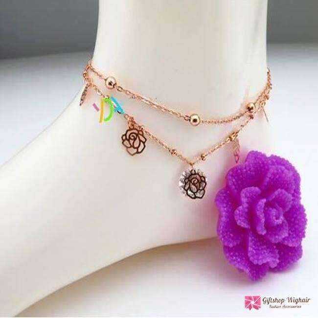 สร้อยข้อเท้าเกาหลี Flower diamond Gold Beauty