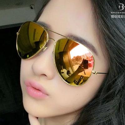 แว่นตากันแดดแฟชั่นเกาหลี กรอบทอง เลนส์ปรอทสีทองชมพู