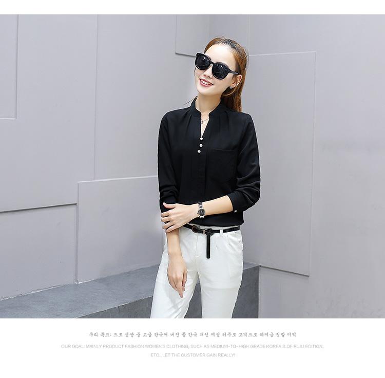 เสื้อเชิ้ตคอจีนพองแต่งกระดุมไข่มุก 3 เม็ด สีดำ