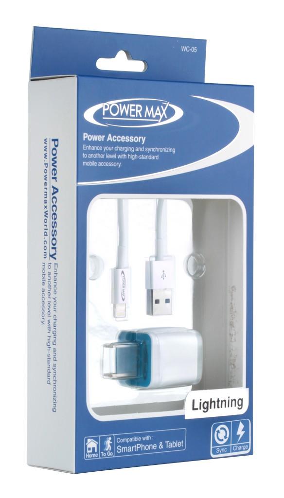 ชุดสายชาร์จ และ adapter iphone 5/5s ยี่ห้อ Power Max