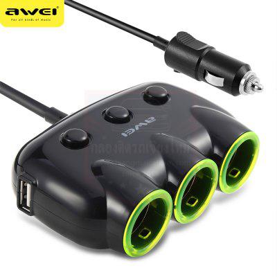 3 SOCKET ADAPTER + 2 USB เพิ่มช่องมีสวิทช์ เปิด-ปิด พร้อมไฟ LED