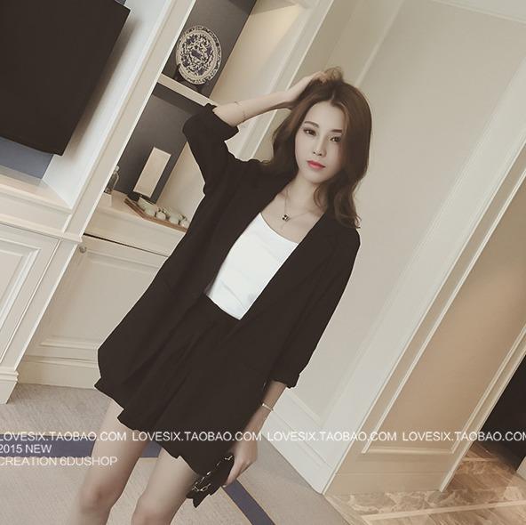 เสื้อสูท+กางเกงเข้าชุด เอวสม้อค สีดำ