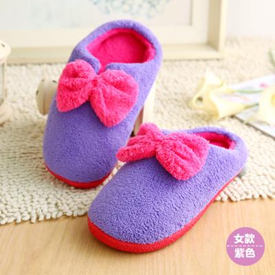 Pre-Order : รองเท้าใส่ในบ้านนุ่มนิ่ม พื้นยางกันลื่น แต่งโบว์ สีม่วง