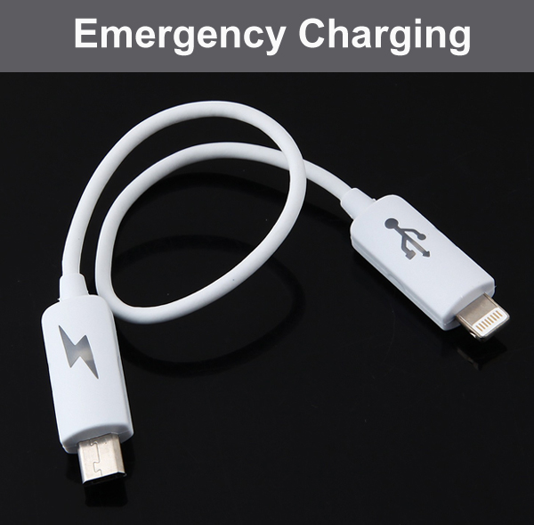 Emergency Charging Cable (Micro USB - iPhone 5, 6)