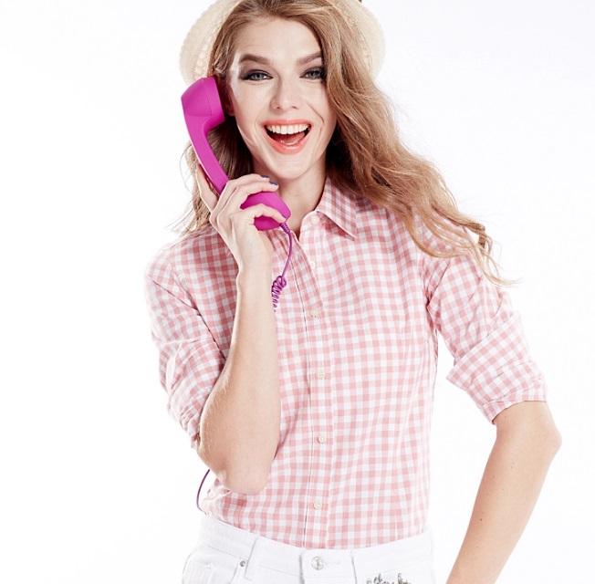 เสื้อเชิ้ตลายสก๊อตเล็กรุ่น 2 สีชมพูขาว(Pink-White)