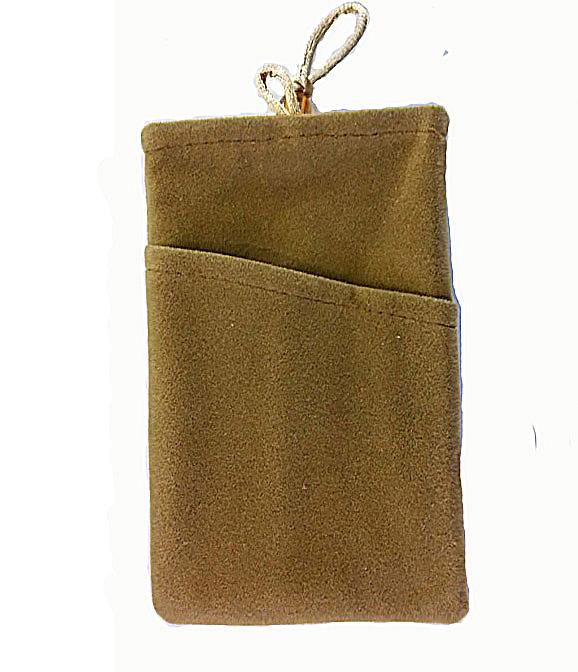 ถุงผ้ากำมะหยี่ 2 ช่อง ใส่มือถือหรือแบตสำรอง ขนาด 5.0 นิ้ว 10*16 ซม. (สีน้ำตาล)