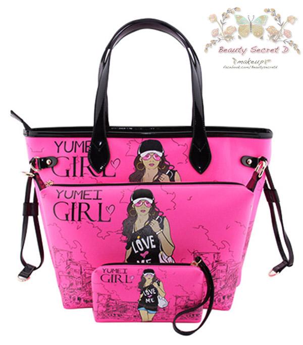 YM Handbags Korean Version Cartoon portable (Shipping 3 in 1/Set) กระเป๋าสำหรับผู้หญิง - Pink