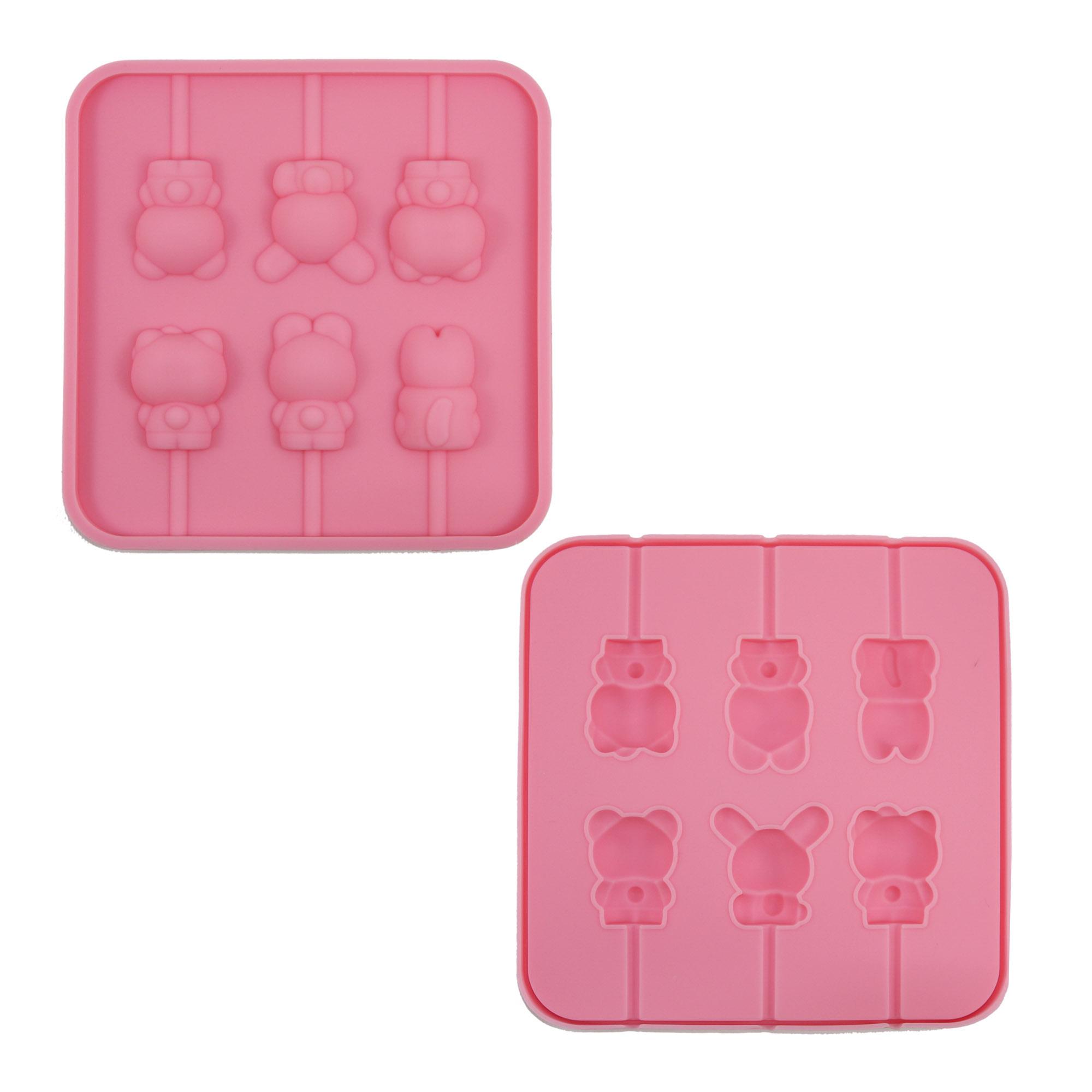 พิมพ์ซิลิโคนลายตัวกระต่าย 6 หลุมสีชมพู
