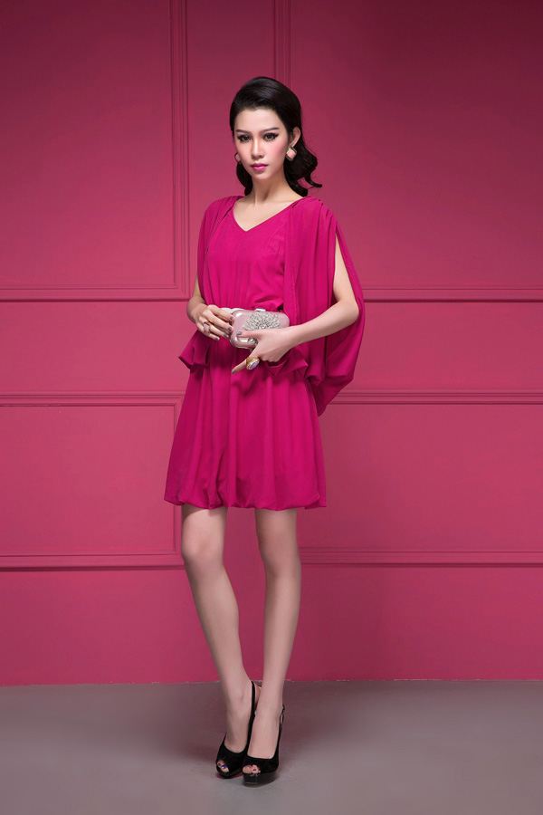 dress ชุดเดรสแฟชั่น สีบานเย็น คอวี เปิดหลัง ผ้าชีฟอง ใส่ออกงาน สวยๆ Asia Street Fashion