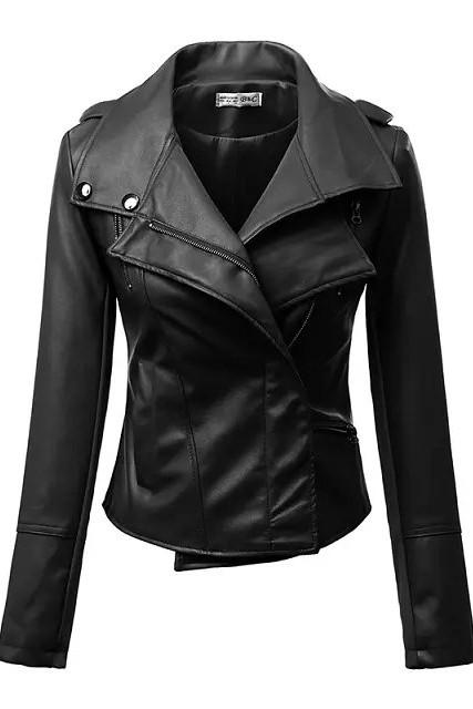 เสื้อแจ็คเก็ต เสื้อหนังแฟชั่น พร้อมส่ง สีดำ คุณภาพดีมาก งาน Premium Quality สินค้าสวยหนังดี