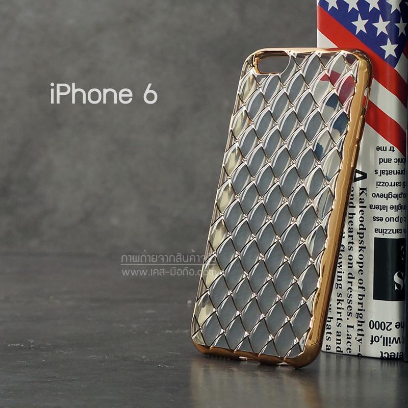 เคส iPhone 6 เคสนิ่ม TPU ลายข้าวหลามตัดขอบสีทอง สีขาวใส
