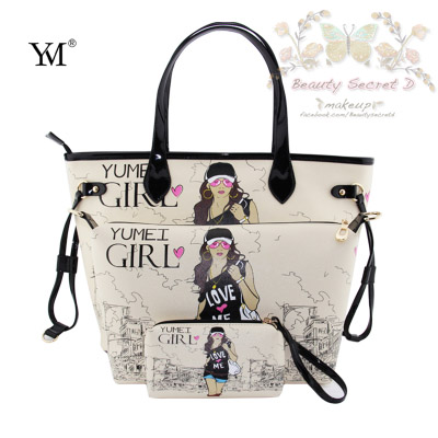 กระเป๋าสะพายไหล่ - หลัง YM Handbags Korean Version Cartoon portable (Shipping 3 in 1/Set) - Color Beige