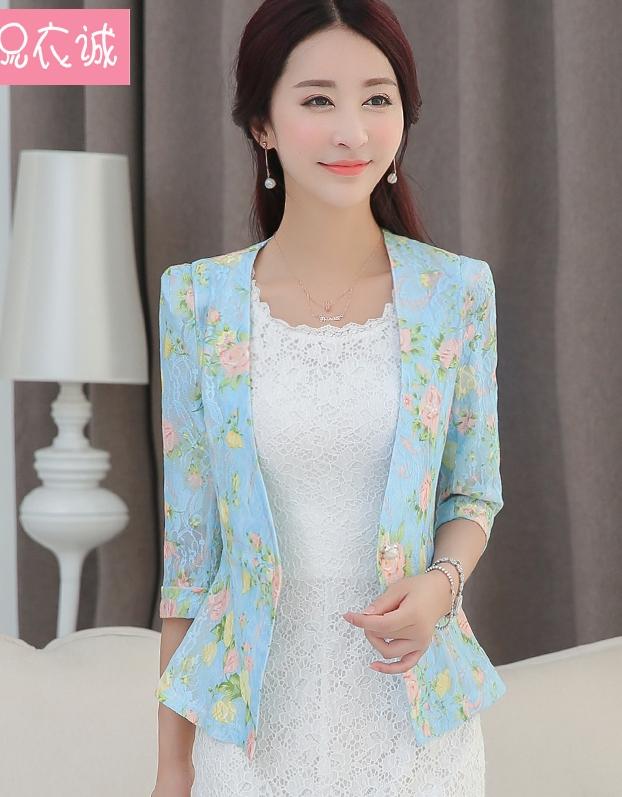 เสื้อสูท เสื้อคลุม พร้อมส่ง สีฟ้า แขนสามส่วน คอวีลึก ดีเทลผ้าลูกไม้ ลายดอกไม้สีหวาน
