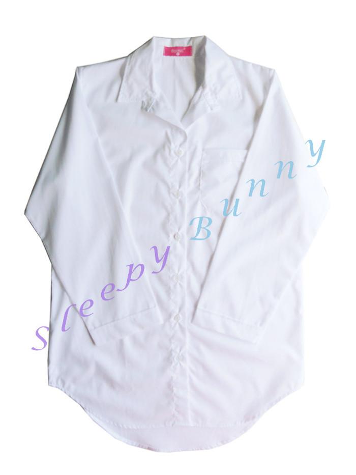ขายแล้วค่ะ ds38 ชุดนอนเดรสเชิ้ตสีขาว Size M --> Pajamazz