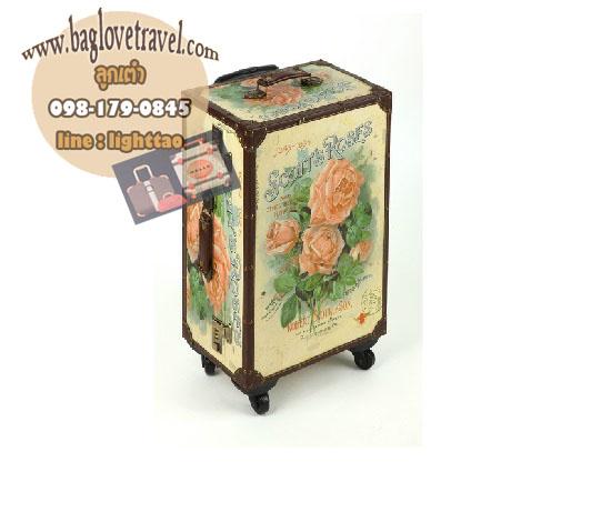 กระเป๋าเดินทางวินเทจ รุ่น vintage classic ลายดอกกุหลาบ ขนาด 20 นิ้ว
