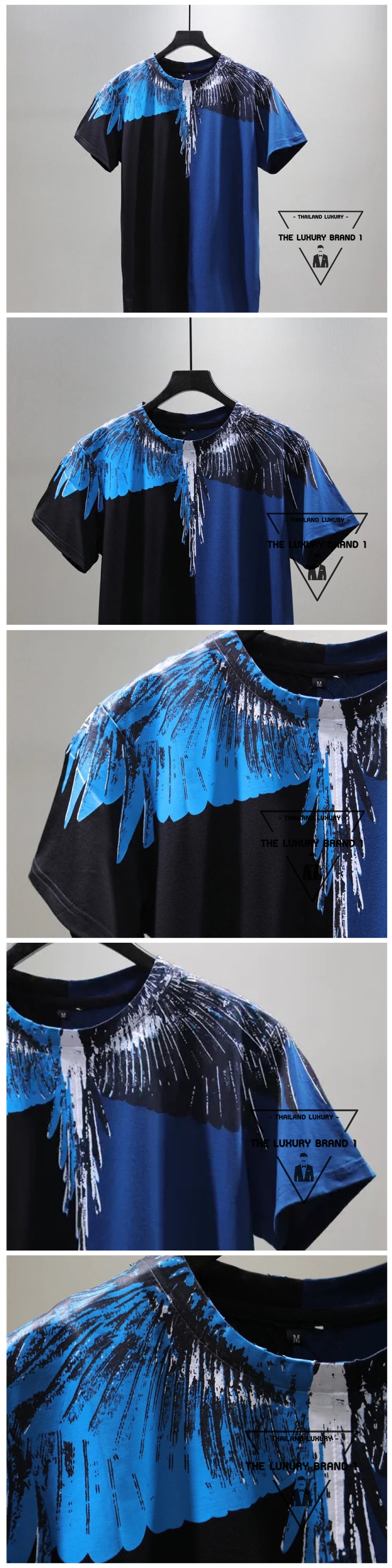 เสื้อยืด Marcelo Burlon / Marcelo Burlon T-Shirt เสื้อยืดลายปีกนกสีทรูโทน น้ำเงิน-ดำ