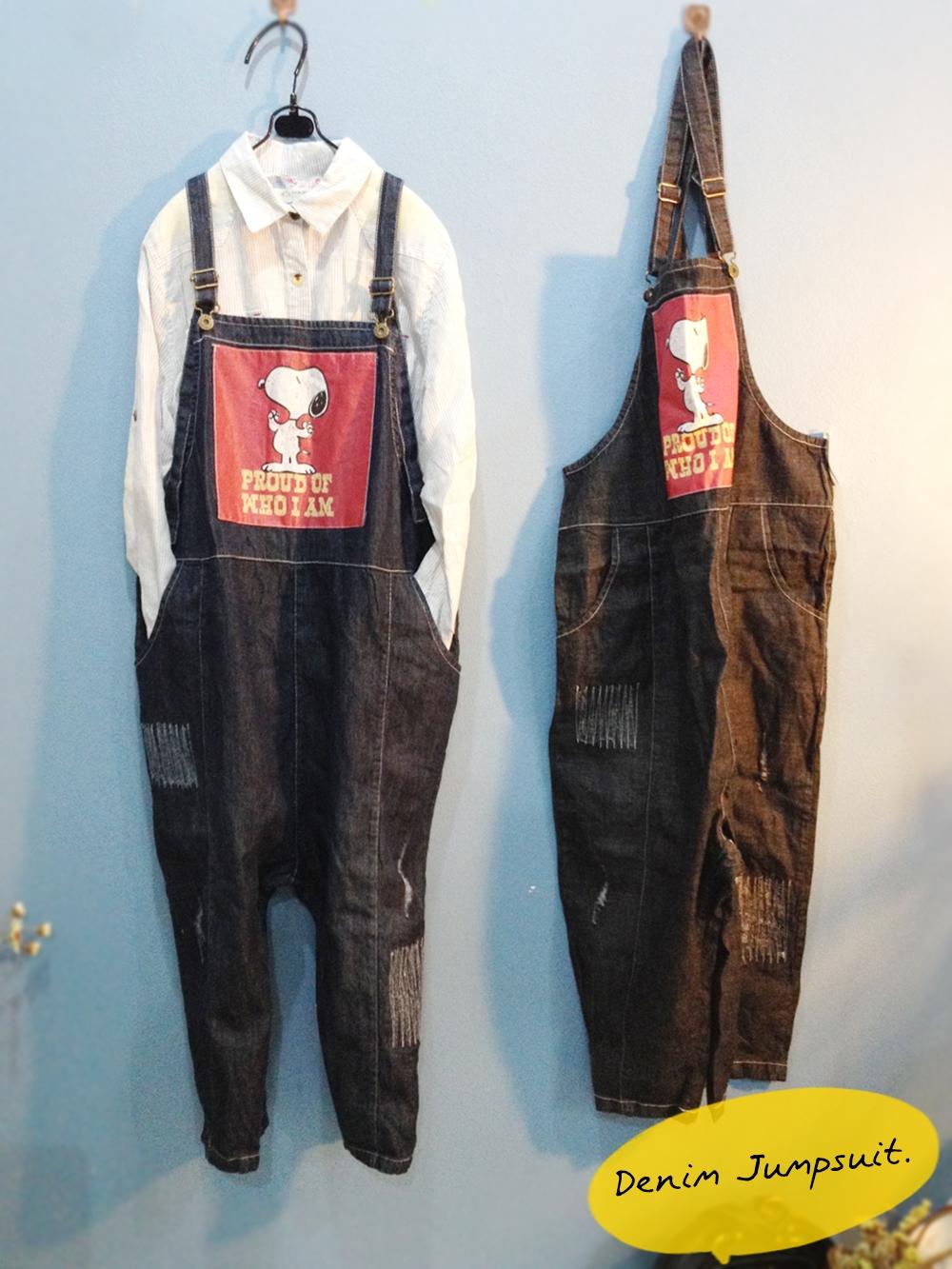 เอี๊ยมกางเกงยีนส์เต็มตัว สีพื้นลายการ์ตูนด้านหน้า สไตล์เซอร์ๆ