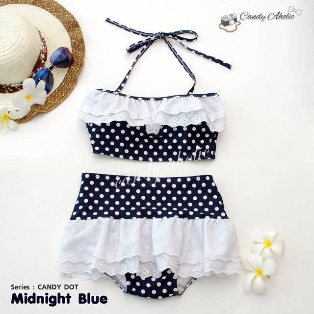 (free size) ชุดว่ายน้ำ ทูพีช มีระบายลูกไม้น่ารัก สีน้ำเงินกรมลายจุด ผูกหลัง กระโปรงน้ำเงินกรม ลายจุด บิกินี่-Midnight-Blue