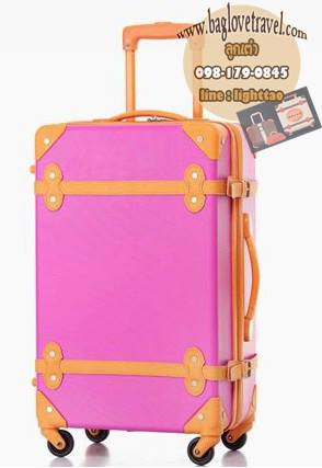 กระเป๋าเดินทางวินเทจ รุ่น colorful ชมพูคาดส้ม ขนาด 22 นิ้ว