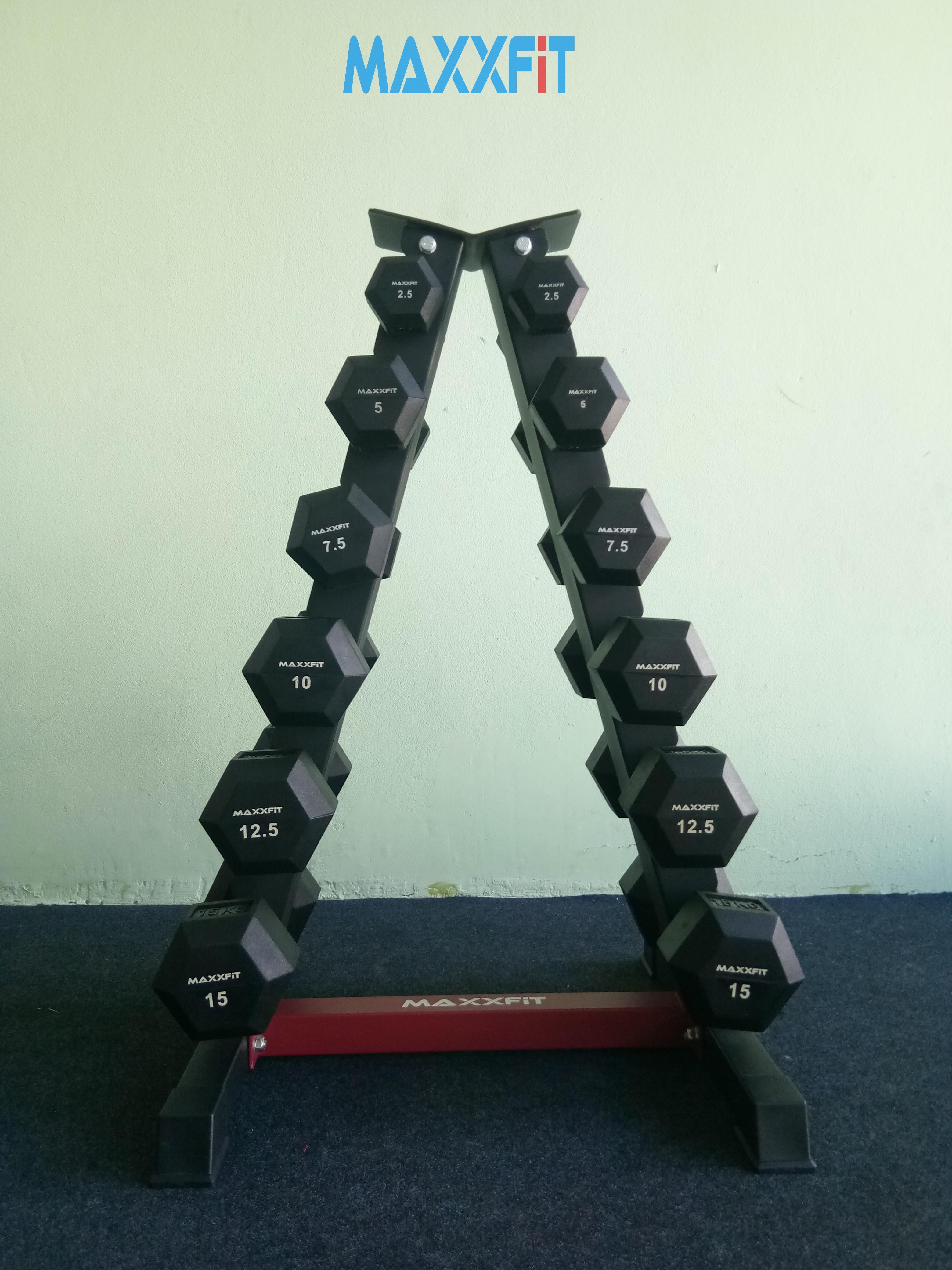 ชุดดัมเบล MAXXFiT ทรงเหลี่ยม ขนาด 2.5 - 15 KG. (6 คู่) พร้อมชั้นวางทรงสามเหลี่ยมสีดำ-แดง วางได้ 6 คู่