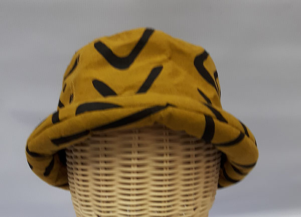 หมวกผ้าฝ้ายพิมพ์ลายขอบม้วน