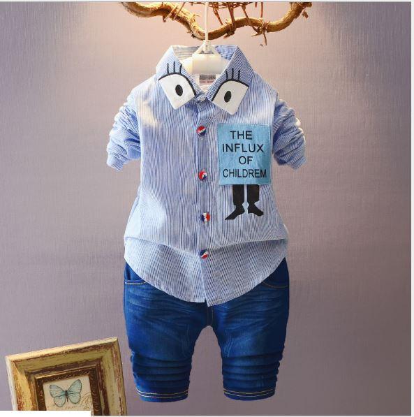 **ชุดเซ็ตกางเกงยีนต์ขาสั้น เสื้อเชิ๊ต The INFLUK สีน้ำเงิน size: M-XL (3 pcs/pack)   3ชุด/แพ๊ค   เฉลี่ย 240/ชุด