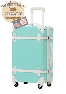 กระเป๋าเดินทางวินเทจ รุ่น colorful ฟ้าอ่อนคาดขาว ขนาด 22 นิ้ว