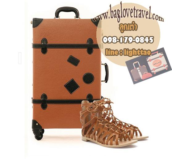 กระเป๋าเดินทางวินเทจ รุ่น retro brown น้ำตาลคาดดำ ขนาด 24 นิ้ว