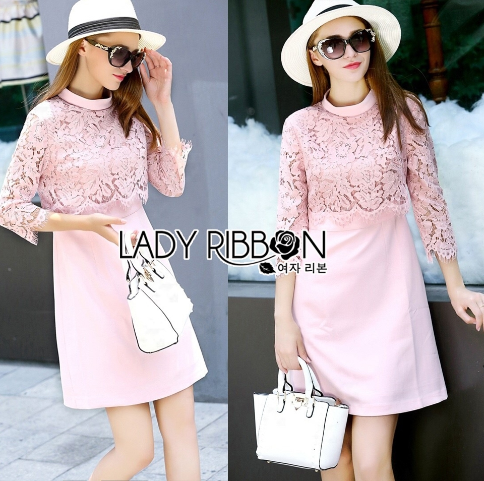 Lauren Holiday Look Guipure Lace Dress in Pink L248-7514