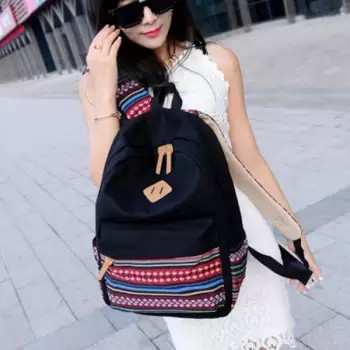 Bag Fashion กระเป๋าเป้สะพายหลัง กระเป๋าลายผ้าซินชาวเหนือ รุ่นMM (สีดำ) (รุ่น 2GnUam2)