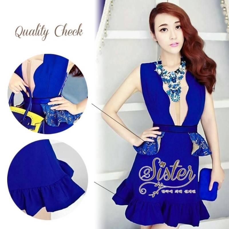 Korea Dress with Blue Premium Lace Design S159-95C11